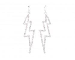 Silver Clear Crystal Lightning Bolt Hook Earrings