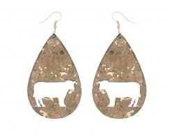 Brown Cork Teardrop Cow Hook Earrings