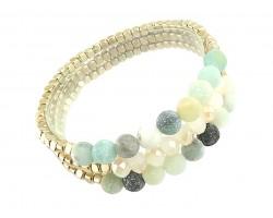 Green 6mm Stone Crystal Stretch Bracelet Set