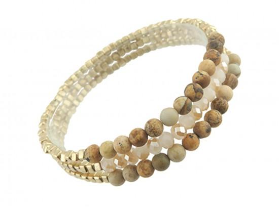 Brown 4mm Stone Crystal Stretch Bracelet Set
