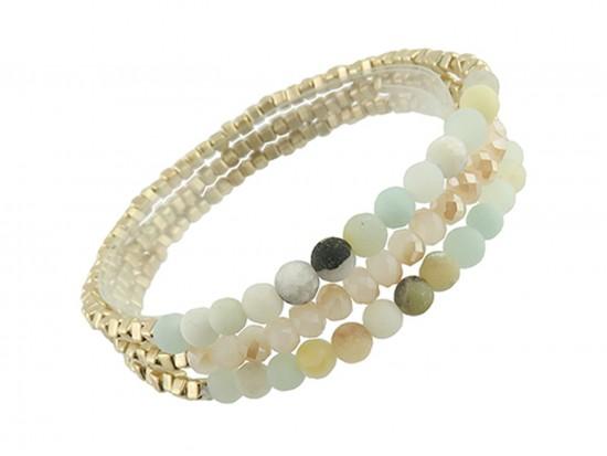 Green 4mm Stone Crystal Stretch Bracelet Set