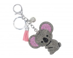 Gray Crystal Koala Bear Puffy Key Chain