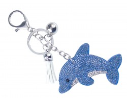 Blue Dolphin Crystal Puffy Key Chain