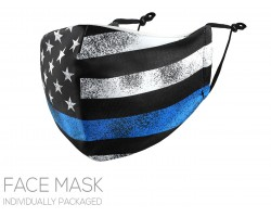 Blue Line Flag Distressed Face Mask