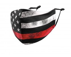 Red Line Flag Distressed Face Mask