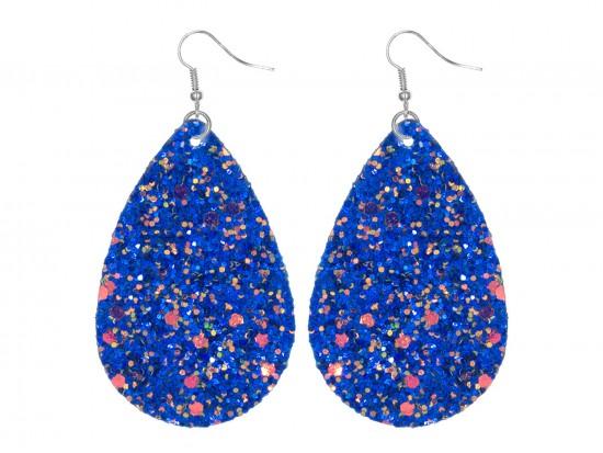 Blue Glitter Teardrop Hook Earrings