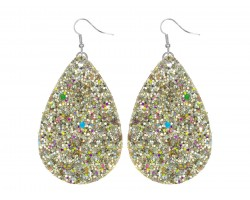 Gold Glitter Teardrop Hook Earrings