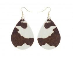 Brown White Cow Print Teardrop Hook Earrings