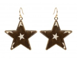 Brown Cow Leather Star Hook Earrings