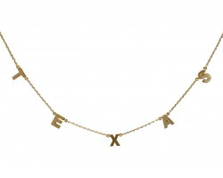 Gold Word Texas Station Necklace
