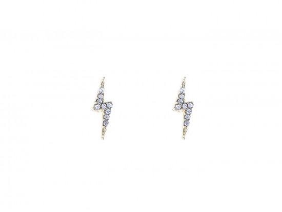 Gold Clear Crystal Lightning Bolt Post Earrings