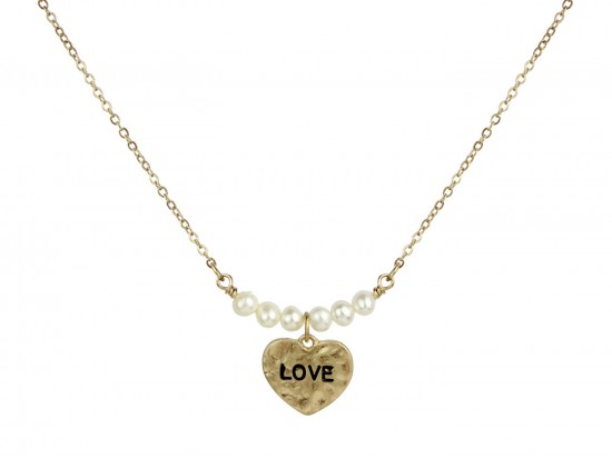 Gold Pearl Heart Love Necklace