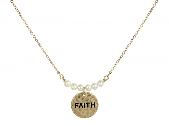 Gold Pearl Round Faith Necklace