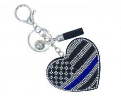 Blue Line Flag Heart Crystal Key Chain