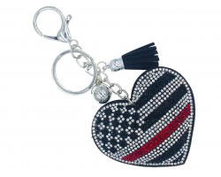 Red Line Flag Heart Crystal Key Chain