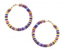 Multi Vinyl Heishi 50mm Hoop Post Earring