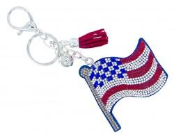 USA Flag Crystal Tassel Puff Key Chain