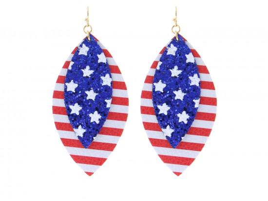 USA Flag Glitter Marquise Layer Hook Earrings