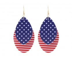 USA Flag Teardrop Layer Hook Earrings
