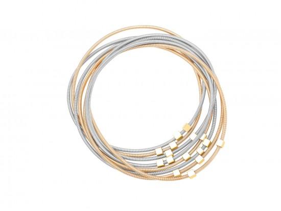 Gold Silver Guitar String Cube Bead Bracelet 8pc Set