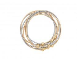 Gold Silver Guitar String Round Bead Bracelet 8pc Set