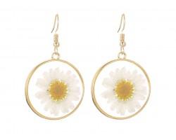 White Daisy Pressed Glass Hook Earrings