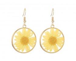 Yellow Daisy Pressed Glass Hook Earrings
