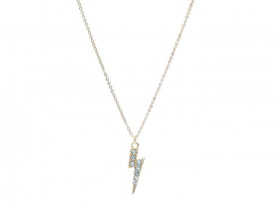 Gold Crystal Lightning Bolt Necklace