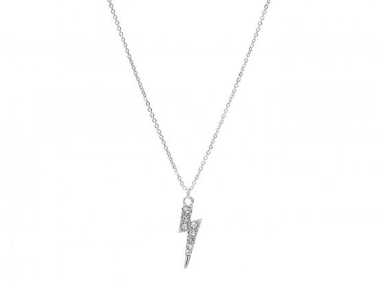 Silver Crystal Lightning Bolt Necklace