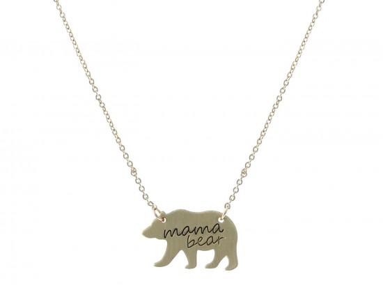 Gold Mama Bear Pendant Necklace