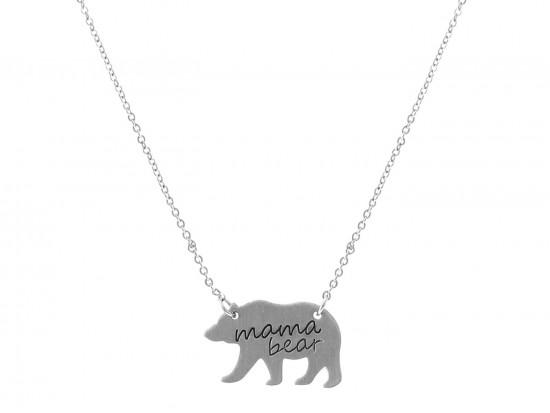 Silver Mama Bear Pendant Necklace