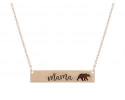 Gold Mama Bear Bar Message Necklace
