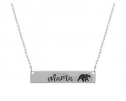 Silver Mama Bear Bar Message Necklace