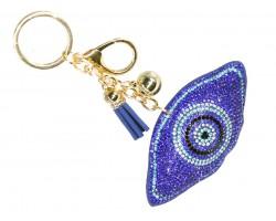 Blue Crystal Evil Eye Puffy Keychain