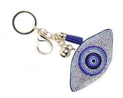 White Crystal Evil Eye Puffy Keychain