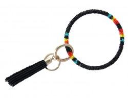 Black Seed Bead Tassel Bangle Key Chain