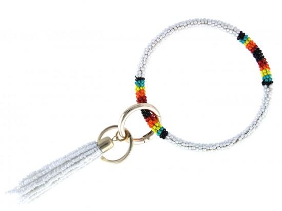 White Seed Bead Tassel Bangle Key Chain