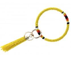 Yellow Seed Bead Tassel Bangle Key Chain