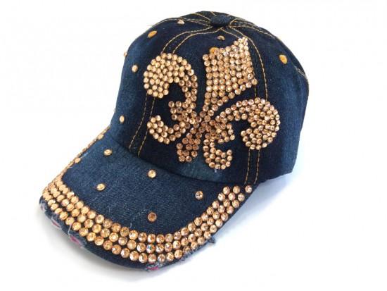 Fleur De Lis Gold Crystal Dark Denim Blue Cap