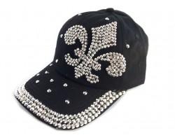 Fleur De Lis Crystal Black Cap