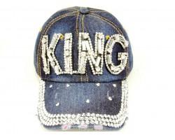 Clear Crystal KING Dark Blue Denim Baseball Cap