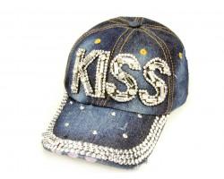 Clear Crystal KISS Dark Blue Denim Baseball Cap