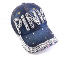 Clear Crystal PINK Dark Blue Denim Baseball Cap