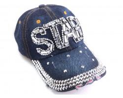 Clear Crystal STAR Dark Blue Denim Baseball Cap