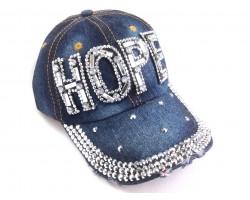 Clear Crystal HOPE Dark Blue Denim Baseball Cap