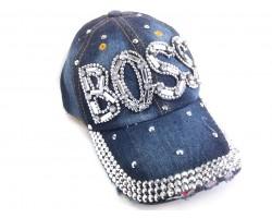 Clear Crystal BOSS Dark Blue Denim Baseball Cap