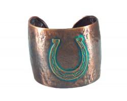 Chocolate Horseshoe Wide Hammered Cuff Bracelet