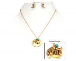 Gold Y'ALL Boot Charm Necklace Set