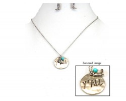 Silver Y'ALL Boot Charm Necklace Set