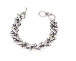 Silver Crossed Bullets Toggle Bracelet